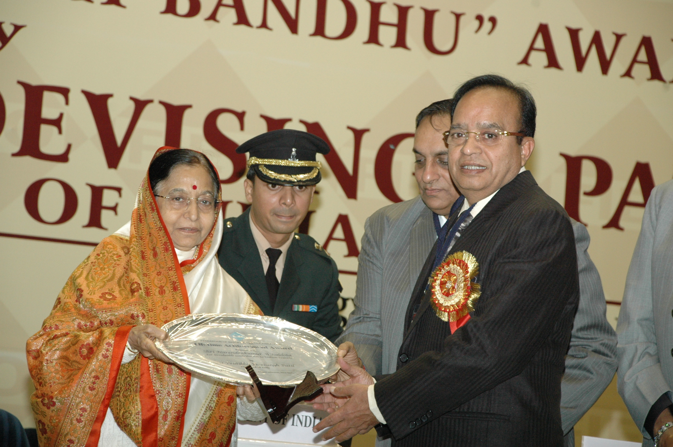 "Mr. Narendrakumar A. Baldota was awarded the prestigious ""Lifetime Achievement Award"" by the honourable President of India, Smt. Pratibha Devisingh Patil."