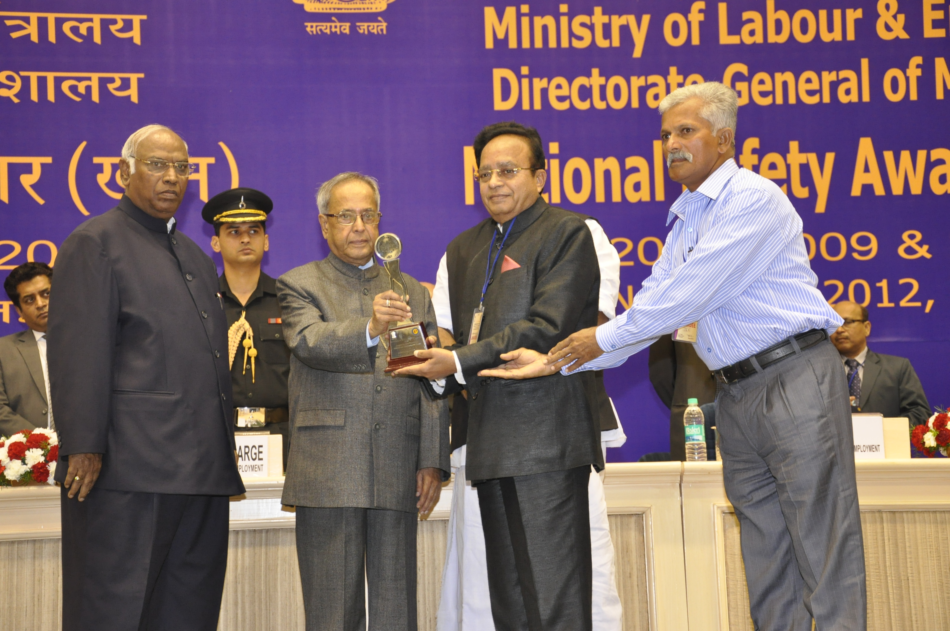 Mr. Narendrakumar A. Baldota (third from left) Chairman & Managing Director, MSPL Limited and Mr. Basheer, Foreman, Vyasanakere Iron Ore Mine, Hosapete are presented with National Safety Award (Mines) for 2010 by the Hon'ble President of India, Shri. Pranab Mukherjee at a function held in New Delhi.